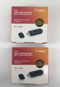 (2X) Belkin N300 High Performance Wireless Wi-Fi USB Dongle PARTS ONLY F9L1002