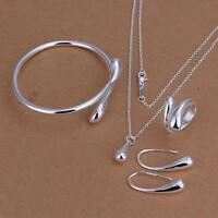 925 solid women silver Fashion Drop Ring Earring Necklace Bangle Set S222