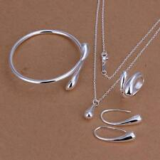 hot solid women silver Plated Fashion Drop Ring Earring Necklace Bangle Set S222