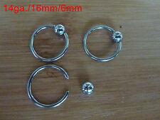 2x 316L ring-hoop 14ga/16mm bar/6mm ball. Surgical steel piercing, nose, ear. #6