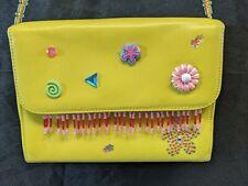 Upcycled SATCHEL Purse Bag Handbag yellow Leather small