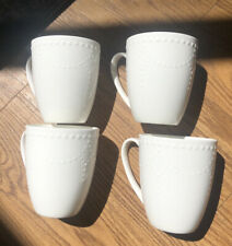Gorham Callington Bone China Set Of 4 White Coffee Mugs