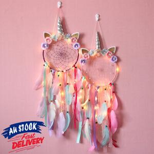 Handmade Hanging Decor Unicorn Light Dream Catcher Feather Flower Dreamcatcher