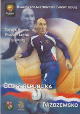 Programme / Programma Czech Republic v Holland 10-09-2003 EURO 2004 Qualifier