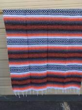 "Mexican Falsa Blanket , Throw , Hot Rod, Twin, ORANGE  ,  72"" x 52"" ,Beach"
