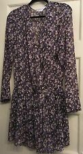 BCBG Generation Black/Purple Multi Floral elastic waist Dress~Sz Med~ RN#80734