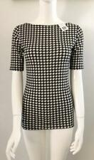 Ralph Lauren XS NWT Cotton Black White Shirt Hounds Tooth Check Top Elbow Sleeve