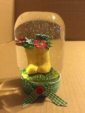 Nantucket Springtime Water Globe, Yellow Boots Flower Pot.  In Mason Jar