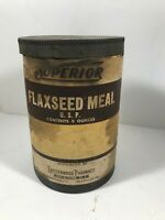 Vintage Superior Flaxseed Meal Advertising Tin Easterwood Pharmacy