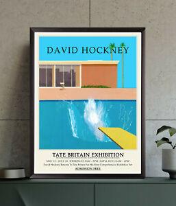 David Hockney Exhibition Poster, A Bigger Splash, Wall Art Decor Print, A2 A3 A4