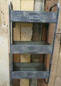 Industrial Wall Storage Unit Metal Shelving Vintage 3 Tier Display Shelf
