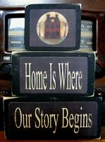Home Is Where Our Story Begins Primitive Stacking Blocks Farmhouse Sign Set