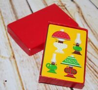 Vtg 70s Prop Sealed Playing Cards Game Oil Lamp Green Gold Red Box New NOS