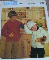 Original Keynote Knitting Pattern Boys/Girl's DK Zipper & Hat No 336