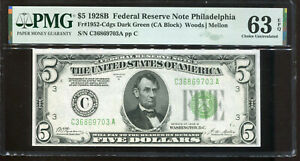 1928-B $5 Federal Reserve Note Philadelphia C36869703A PMG Choice Unc 63EPQ
