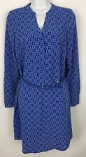 The Limited Blue White Printed Belted Shirt Dress Long Roll Tab Sleeves Size XS