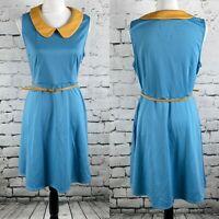 Fervour Modcloth women's skater dress peterpan collar blue size L belted