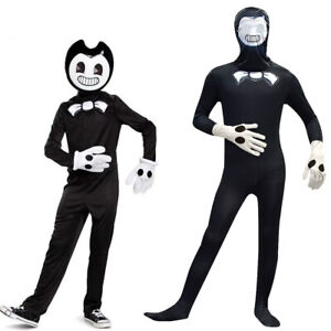 UK Boys Bendy And The Ink Machine Costume Halloween Cosplay Fancy Jumpsuit+Mask