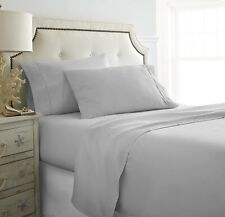 Attached Waterbed Sheet Set - Soft Egyptian Cotton 1000 TC Light Grey Solid