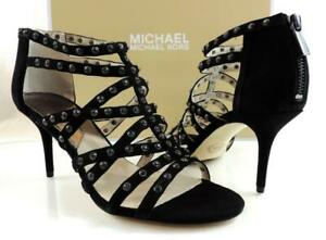 Women's Shoes Michael Kors Maddie Jeweled T-Strap Evening Sandals Black Size 8