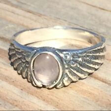 Eagle Wing Ring .925 Sterling Silver Small Sz 5 w/ Natural Rose Quartz gemstone