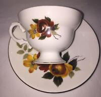 Royal Dover Bone China Tea Cup and Saucer Roses Red/Yellow England