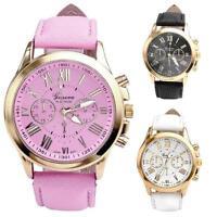 Women's Fashion Faux Leather Geneva Roman Numerals Analog Quartz Wrist Watch