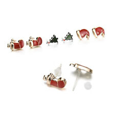 3 Pairs Christmas Women Jewellery Santa Claus Xmas Tree Earrings Stud Party Gift