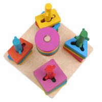 Wooden Geometric Sorting Blocks Montessori Kids Educational Toys Building S