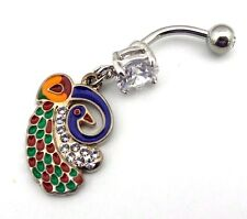 Peacock Belly Ring Clear CZ Gemstone Jewel Navel Bar Body Jewelry