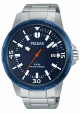 Pulsar Gents Stainless Steel Bracelet Blue Dial Date Watch PS9367 UK Seller