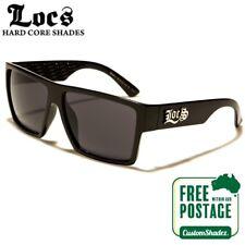 Locs Sunglasses - Men's Stylish Flat Top Frame - Gloss Black - FREE POST IN AUS