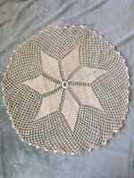 Vintage Ivory Crochet Circular Doily