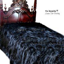 "Faux Fur Bedspread - Comforter  Black Mongolian Shag Queen 90""x90"""