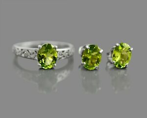 8x6MM Oval Natural Peridot Gemstone 925 Sterling Silver Ring Earring Jewelry Set