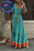 Women's Bohemian Floral Print V Neck Tie Waist Hippie Long Maxi Dress Blue Green
