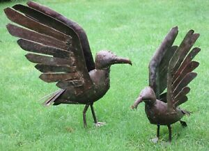 Recycled Metal Sculpture~ Pair of Seagulls- Hand Made -Garden or Home -Shona