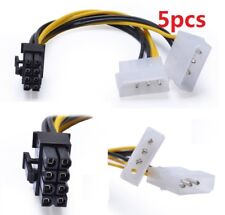 5pcs 4 Pin ATX & 4 Pin LP4 Molex to 8 Pin EPS Power Adapter Cable 6inch/15cm