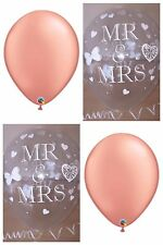 Rose Gold Balloons & Clear Printed Mr & MRS WEDDING BALLOONS Decorations x 12