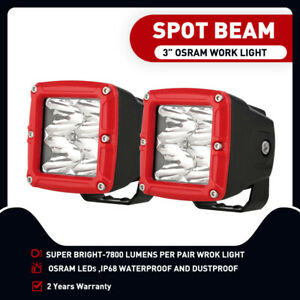 3inch OSRAM LED Driving Lights Light Bar Cube Pods Spot Offroad Red Automotive