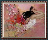 """Hand-painted Oil painting art Original Impressionism girl swan on Canvas 30""""x40"""""""