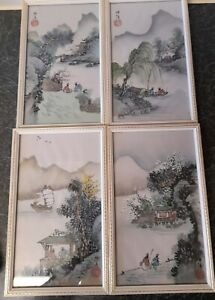 ANTIQUE JAPANESE/CHINESE ORIGINAL WATERCOLOUR PAINTINGS SIGNED 4 SESSIONS