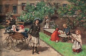 Early 20th Century Children Playing In A London Park Garden J WILLIAMSON