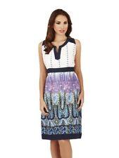 Ladies 100% Cotton Summer/Beach Blue Multi Pattern Sun Dress