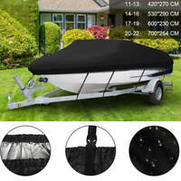 Heavy Duty 210D Ski Boat Cover Fishing Bass V-Hull Trailerable Runabout 5 Size