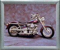 Harley Davidson Vintage Motorcycle Wall Silver Framed Picture Art Print (20x24)