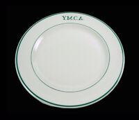 "Walker China • Restaurant Ware • Green Stripe • Y.M.C.A. • 2 • 9"" Advtng Plates."