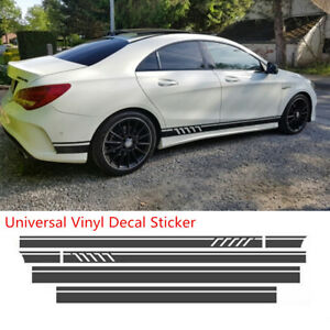 Universal Matte Black Car Racing Body Side Stripe Skirt Roof Hood Decal Sticker