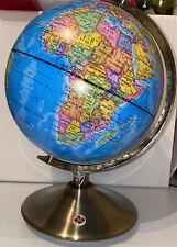 World Globe - 21cm Diameter On Brass Stand