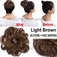 New Pony Tail Hair Extension Bun Hairpiece Scrunchie As Human Chignon Brown Hair